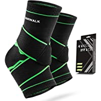 Ankle Brace VANWALK Active 2 Ankle Support Braces - Compression Sleeve with Adjustable Strap for Women Men - Green