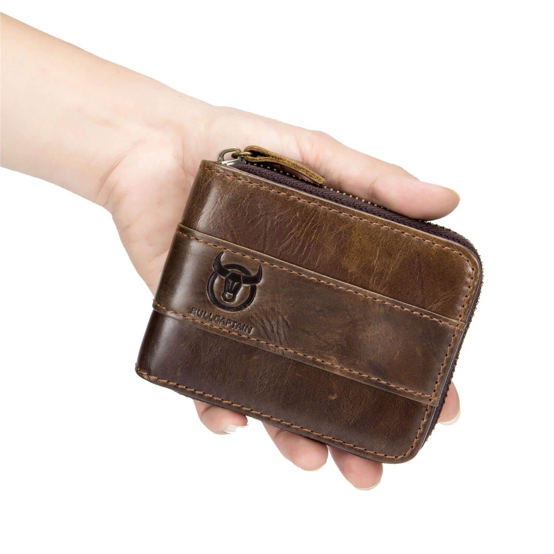 c1b7ffb45575 Amazon.com  Mens RFID Antimagnetic Vintage Leather Wallet Front Pocket Coin  Bag Card Holder with 11 Card Slots (Brown)  cegda