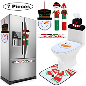 Gejoy 7 Pieces Christmas Snowman Refrigerator Handle Door Cover, Christmas Snowman Toilet Seat Covers and Snowman Advent Calendar for Bathroom Kitchen Appliance Decorations