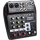 SYNCO MC4 BT Sound Mixing Console Record Audio Mixer Bluetooth 4-Channel Mono Stereo Input Reverb Effects, 48V Phantom…