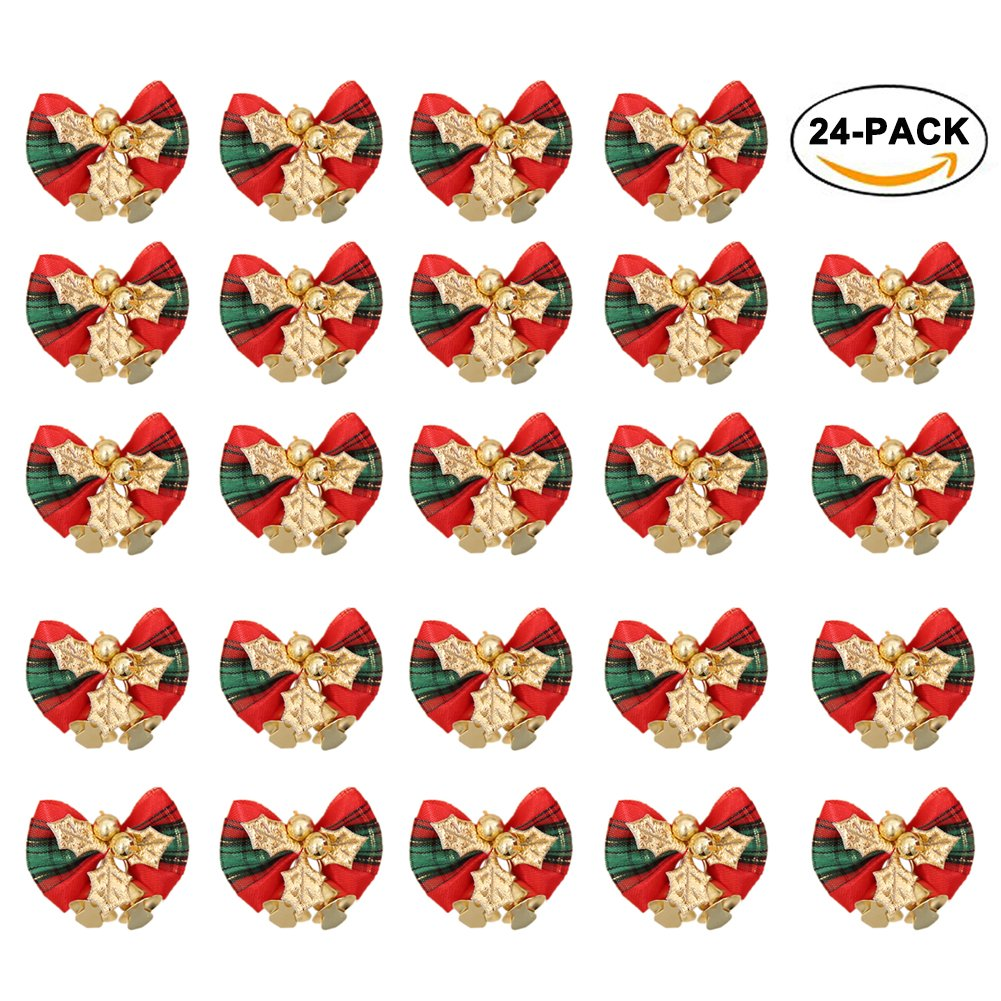 24PCS Christmas Bow Decoration, Red Xmas Bowknot with Bell DIY Christmas Tree Garland Rattan Gift Box Ornament By Rely2016 (Red & Green Plaid pattern) by Rely2016