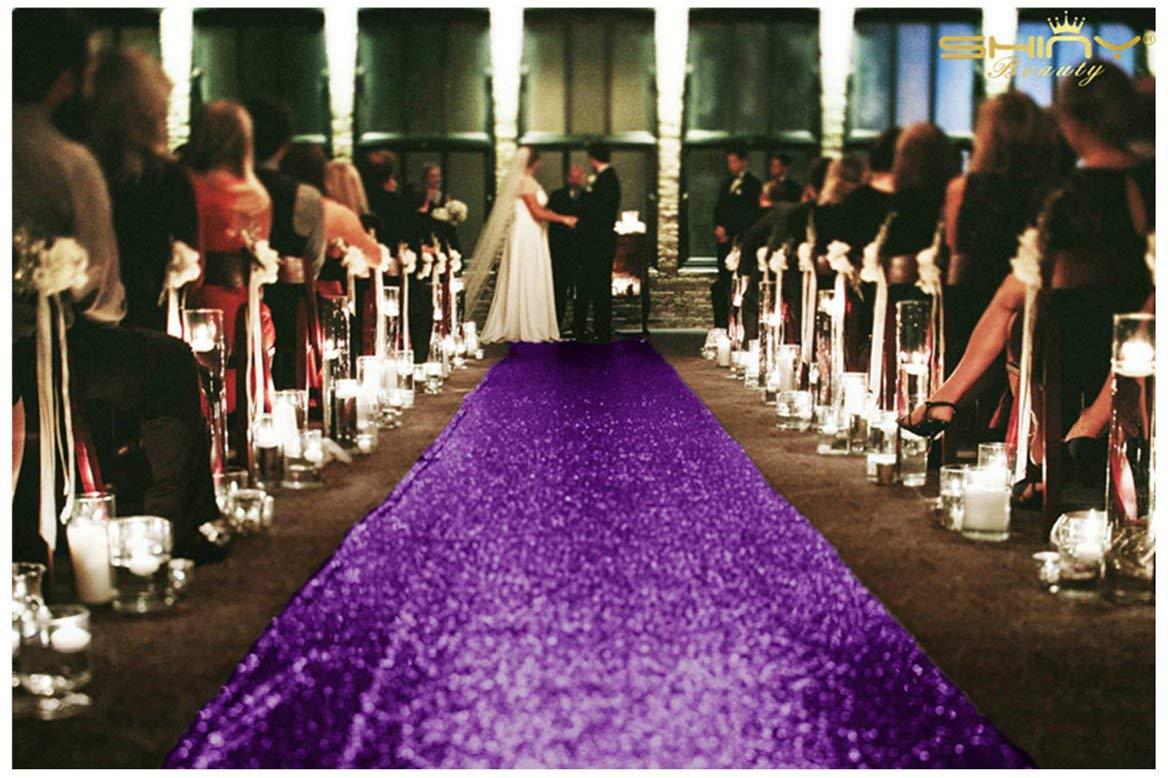 ShinyBeauty Wedding Aisle Runner-25FTX4FT-Purple,Sequin Aisles Floor Runner,Sequin Carpert Runner,Glitter Carpet Aisle Runner (purple)