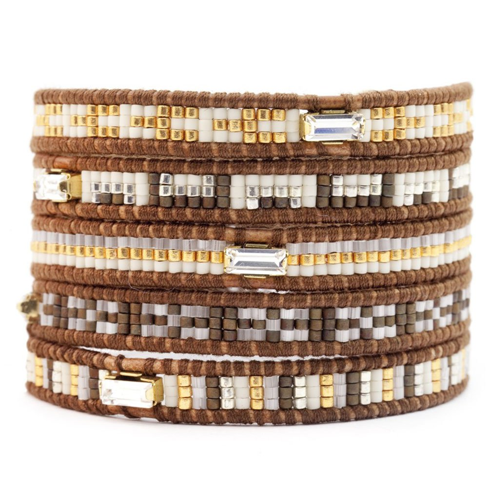 Chan Luu Wrap Bracelet - Brown Seed Bead Mix on Brown Leather