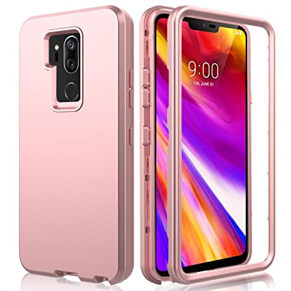 AMENQ LG G7 ThinQ Case, LG G7 Plus Case, 3 in 1 Heavy Duty Full Body Shockproof with Silicone Rubber Gel TPU Bumper and Scratch Resistant PC Armor ...