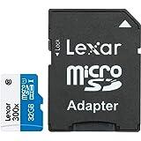 Lexar Scheda di Memoria Micro SDHC, 300x, High Speed con Adattatore, Classe 10, 32 Gb, Bianco/Blu