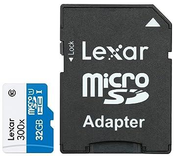 Lexar LSDMI32GBBEU300, Tarjeta de memoria microSD de 32 GB (con hasta 45 MB/s, Clase 10 UHS-I, velocidad de 300x), sin adaptor