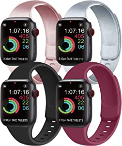 [Pack 4] Compatible with Apple Watch Bands 44mm 42mm for Women Men, Soft Silicone Bands Compatible with iWatch Series 6 5 4 3 2 1 & SE (Rose Gold/Silver/Black/Wine red, 42mm/44mm-M/L)