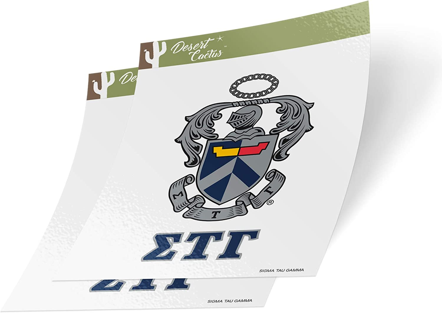 Desert Cactus Sigma Tau Gamma Letter 2-Pack Decal Greek for Window Laptop Computer Car (Crest Sticker)