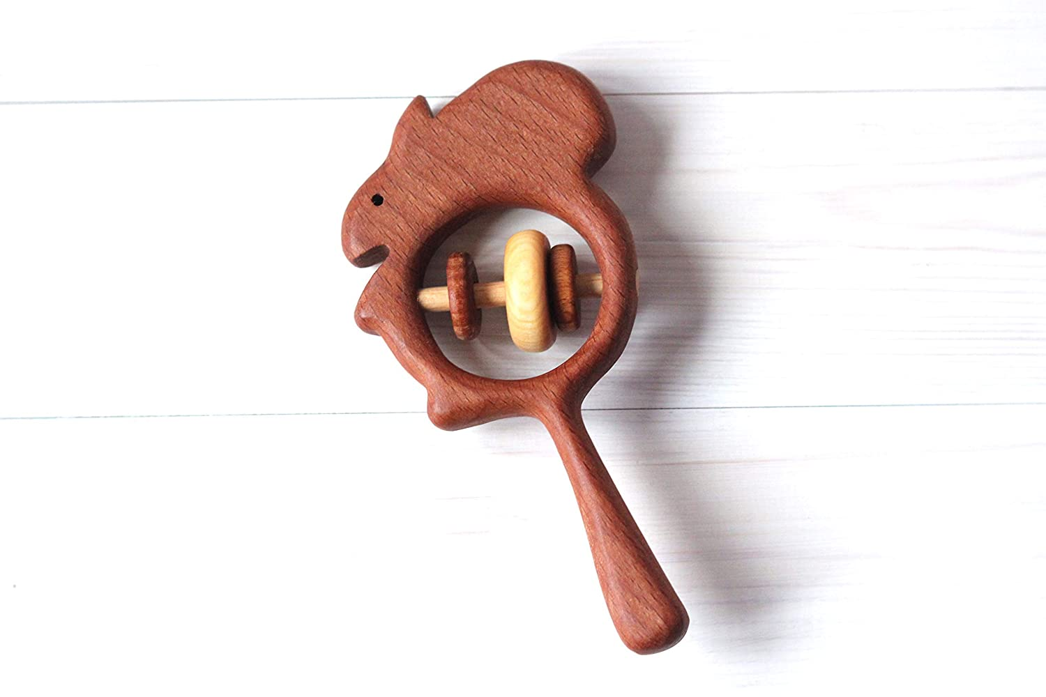 Wooden squirrel rattle, Wooden teether, Teething toy, Wooden Rattle,Rattle for newborn, Rattle for baby,
