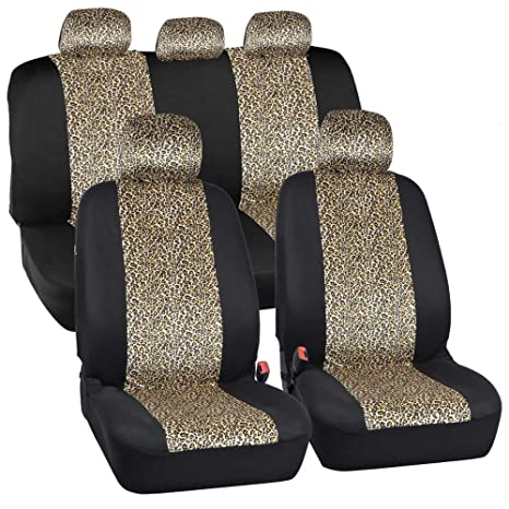 ComfySeats Velvet Animal Car Seat Covers Two Tone Cheetah Accent On Black 9pc Set