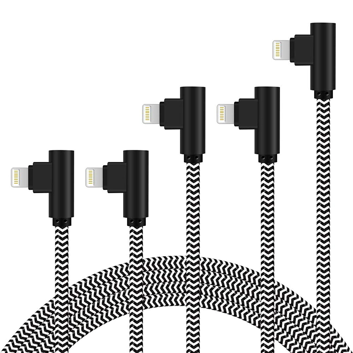 iPhone Charger 5Pack 3FT/6FT/10FT 90 Degree Lightning Cable Right Angle iPhone Charging Cable Nylon Braided Quick and Fast Charger Cord Compatible with iPhone/iPad (Black White)