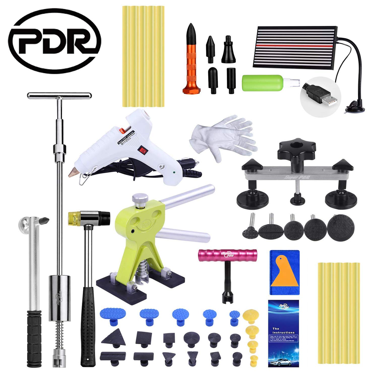 PDR Paintless Dent Repair Tool, Auto 47 Pcs Car Dent Removal Kit, DIY Dent Remover for Car Body, Washing machine and Doors