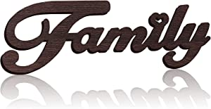 Family Wooden Sign Wall Decor Family Wooden Letters Wall Art Home Decor Rustic Wood Family Sign Cutout Word Wall Decor, 13.78 x 5.12 Inch Family Wood Decor for Bedroom Kitchen Living Room (Brown)