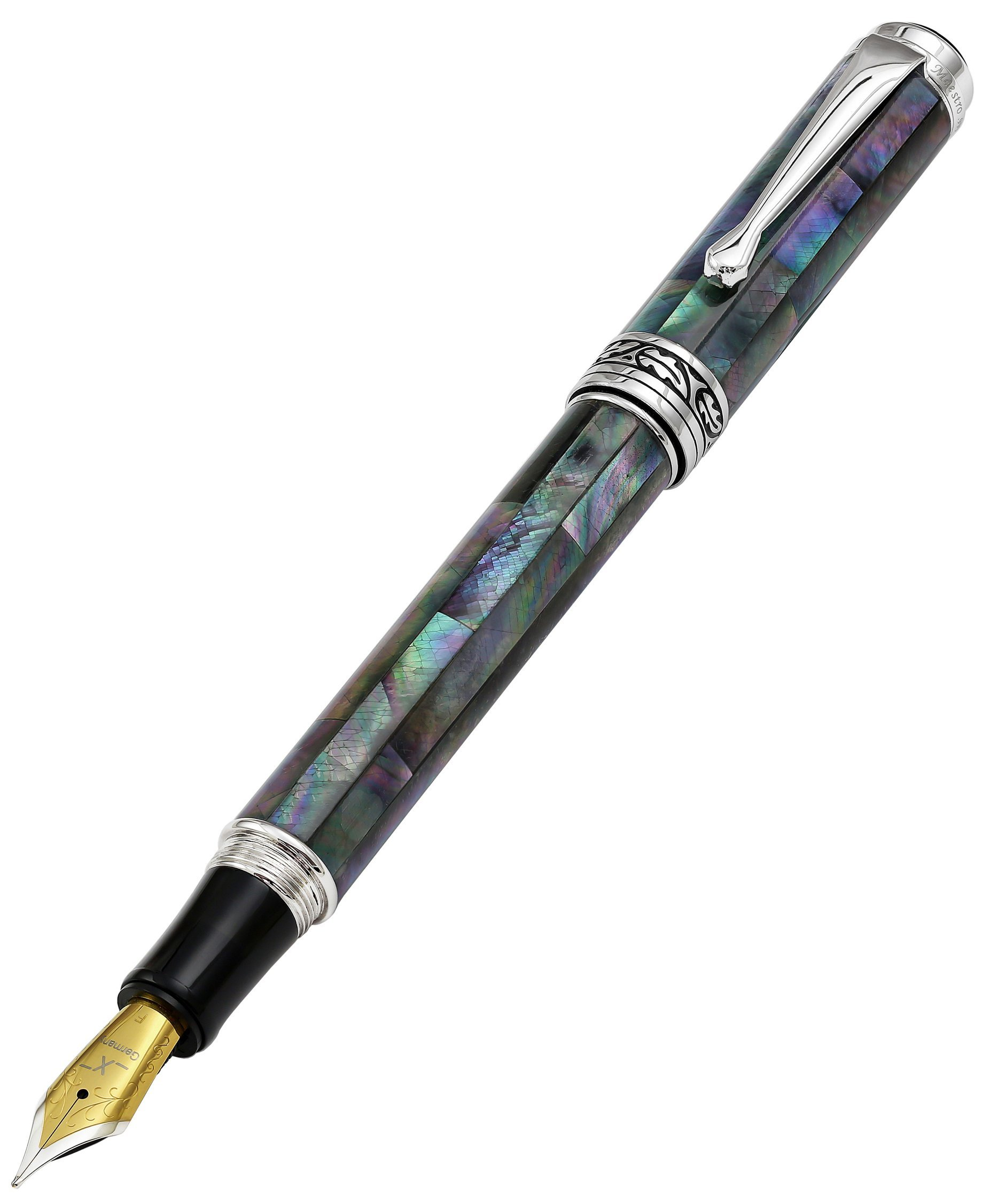 Xezo Maestro Iridescent Natural Black Mother of Pearl Platinum Plated Fine Fountain Pen. No Two Pens Alike