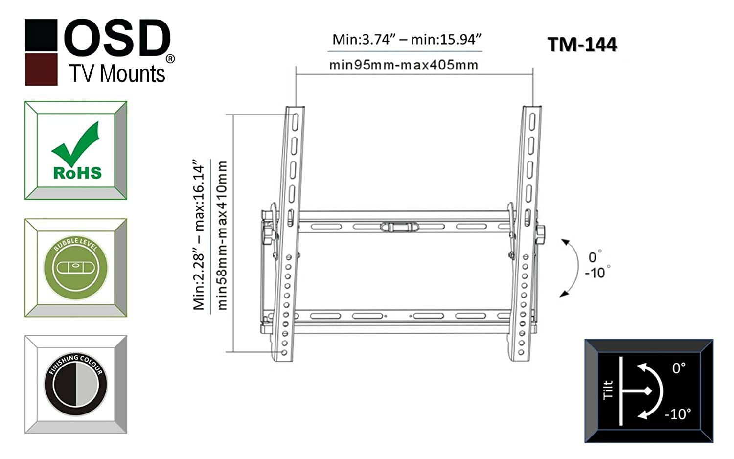 Osd Audio Tm 144 Tilt Wall Mount For 26 Inch To 47 High Power Fm Transmitter Circuit Diagram Low Profile Plasma Led Or Lcd Tv Home Theater