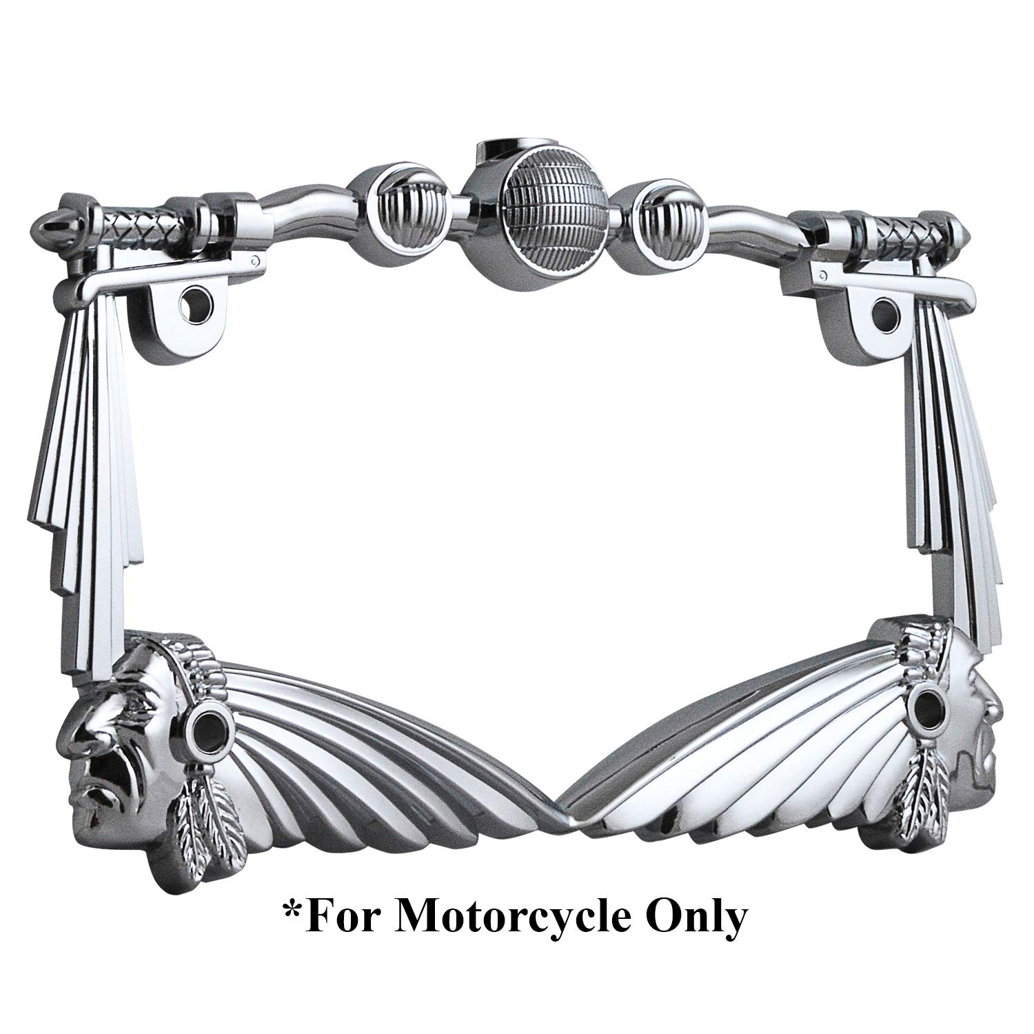 TC Sportline LPF248-C 3D Handle Bar And Indian Chief Style Zinc Metal Chrome Finished Motorcycle License Plate Frame