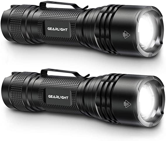 GearLight TAC LED Tactical Flashlight [2 PACK] - Single Mode