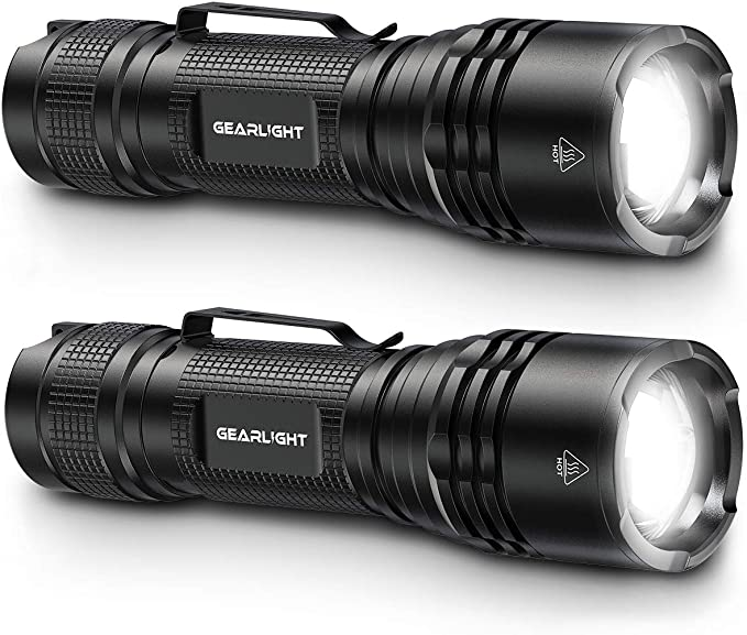 GearLight Tac LED Tactical Flashlight [2 Pack] - Single Mode, High Lumen, Zoomable, Water Resistant, Flash Light - Camping Accessories, Emergency Gear, Flashlights with Clip - - Amazon.com