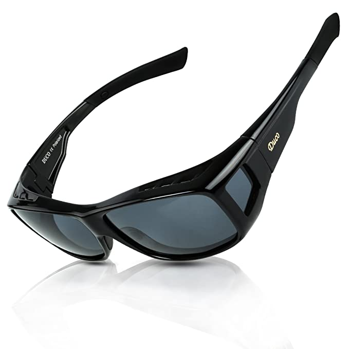 81401eb9e1f3 Image Unavailable. Image not available for. Colour  DUCO Men s and Women s Polarised  Wrap Around Fit-Over Sunglasses over Prescription ...