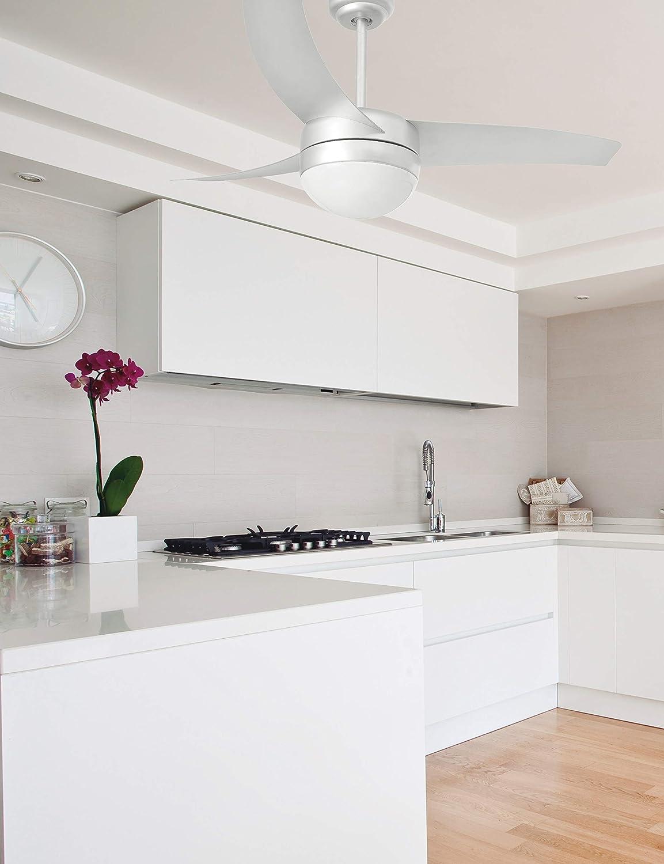 acerp Faro Barcelona Easy 33416 color gris Ventilador con luz 15W palas de abs y difusor de cristal opal