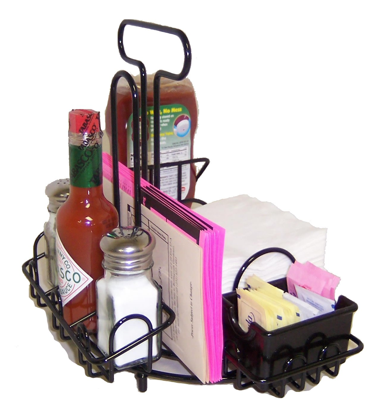MACH-2 • Case of 8 • Commercial Restaurant Menu & Condiments Holder/Caddie FOR SQUARE NAPKINS - Thick Industrial Wire - Powdercoated Black Finish. Last forever! Type MenuCoverMan in Amazon search.