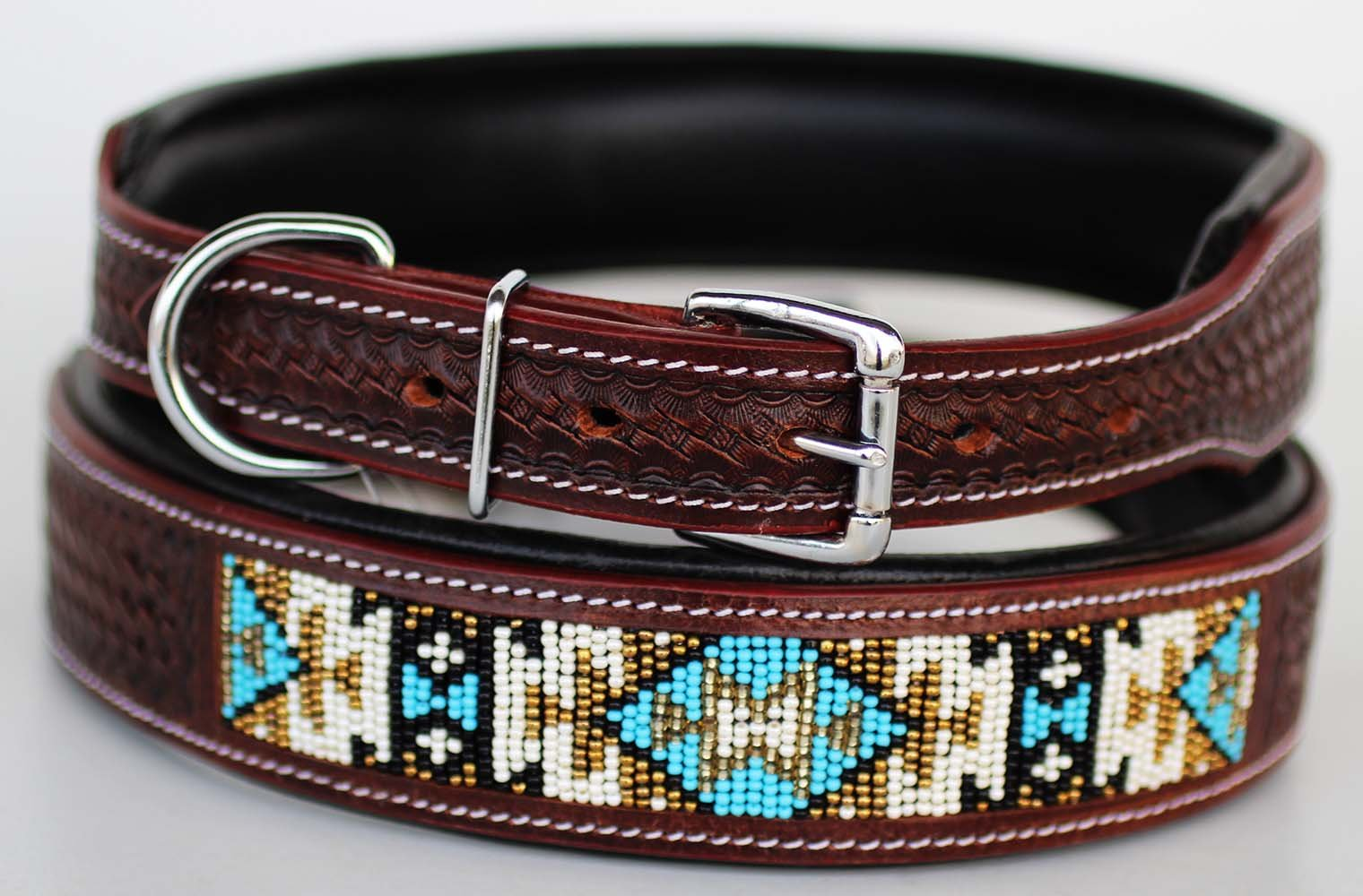 PRORIDER Medium 17''- 21'' Dog Puppy Collar Cow Leather Adjustable Padded Canine 6071 by PRORIDER