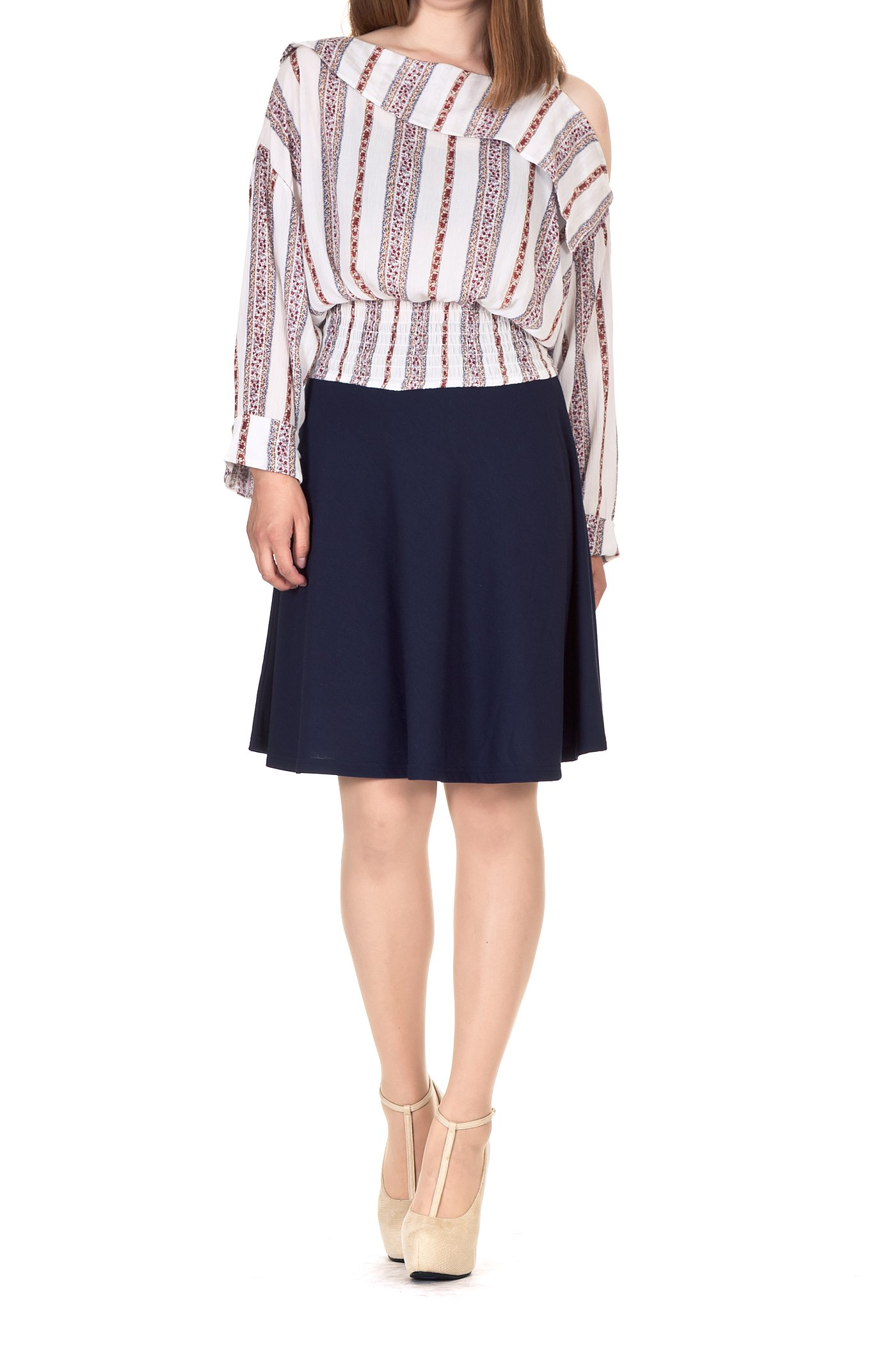 Simple Stretch A-line Flared Knee Length Skirt (M, Knee Navy)