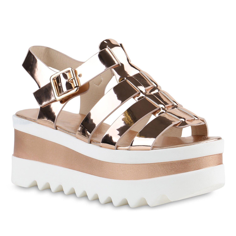 a092eeed5b3252 Stiefelparadies Damen Plateau Sandaletten mit Keilabsatz Lack Profilsohle  Flandell  Amazon.de  Schuhe   Handtaschen