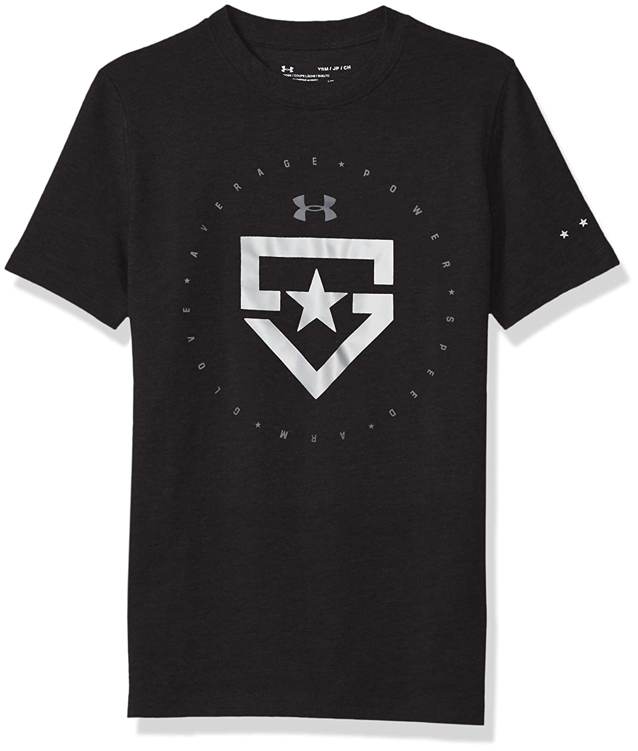 Under Armour Boys 'ヒーターTシャツ B0719KGC41 Youth Large|Black (001)/Metallic Silver Black (001)/Metallic Silver Youth Large