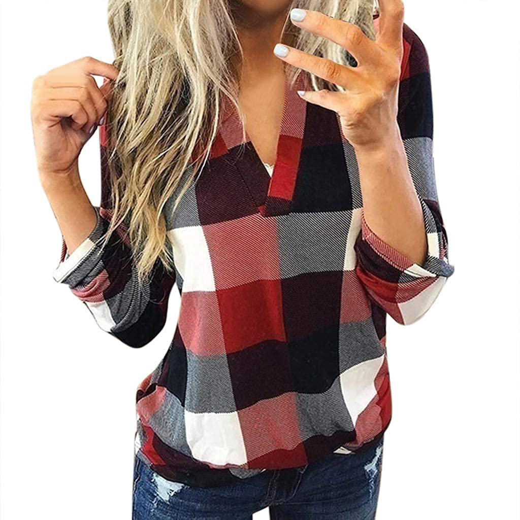 Casual Women Roll Up Long Sleeve Pullover V Neck Flannel Plaid Shirt Slim Top Tunic Blouses