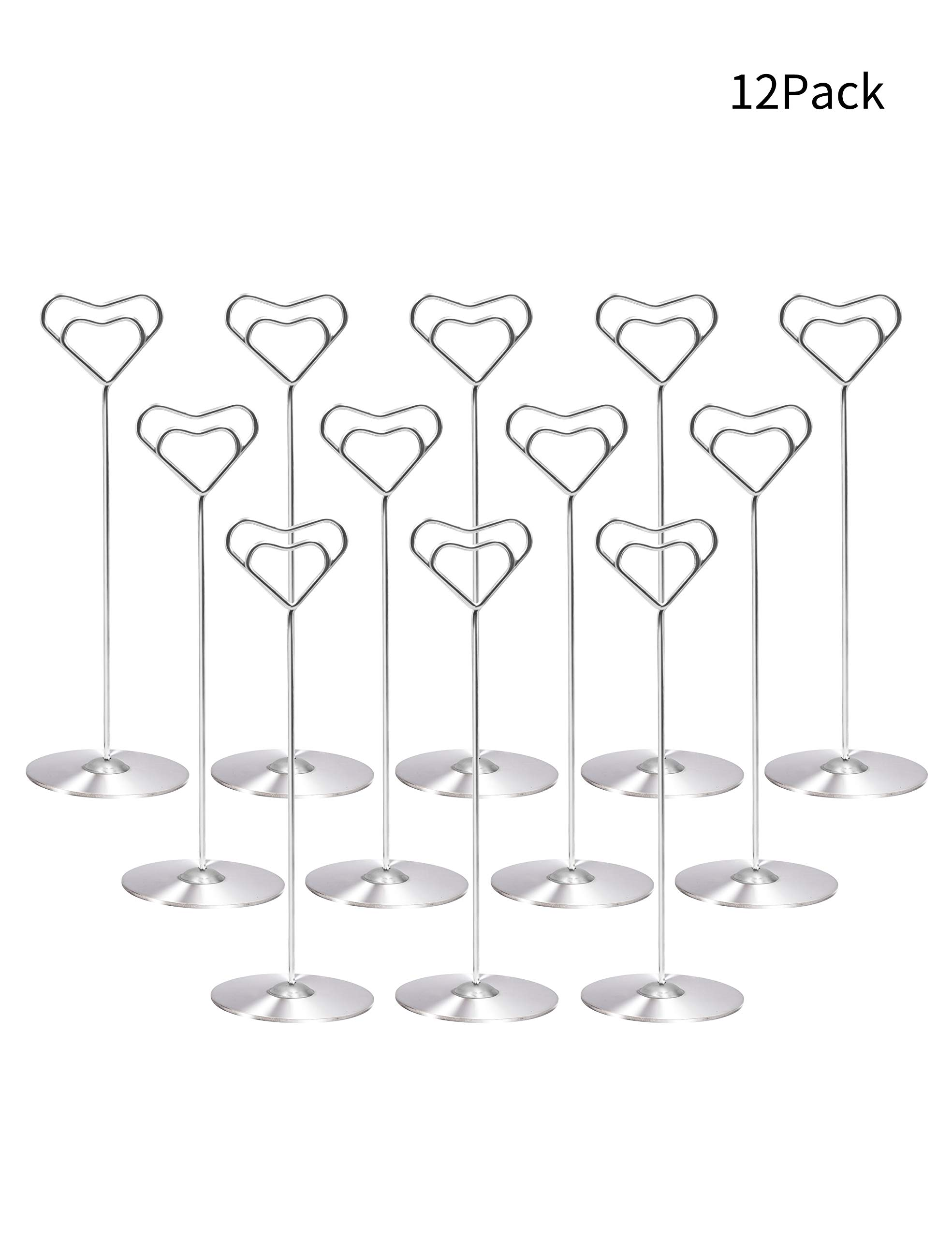 Place Card Holders Table Number Holder 8'' Stainless Steel Set of 12 Table Card Holder Table Number Stand by Starsbasics (8-Inch,Set of 12)
