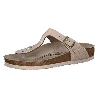 ddcfd40a590 Birkenstock Womens Gizeh Leather Thong Sandals Regular Washed Metallic Rose  Gold Size EU 36 - UK