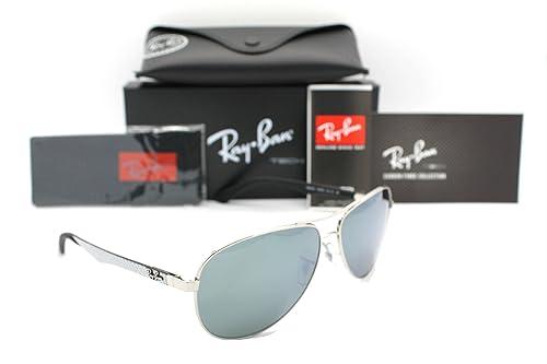 5970f6c98b590 Ray-ban Aviator RB 8313 003 40 61mm Silver Tech Carbon Fibre Crystal Grey  Mirror  Amazon.ca  Shoes   Handbags