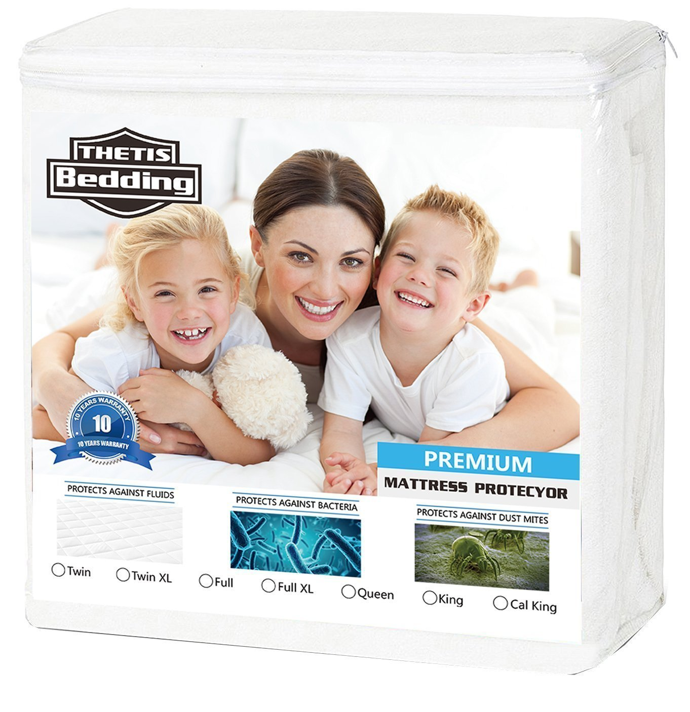 THETIS Homes California King Thetis Bedding Waterproof Mattress Protector - Bed Bug Proof Hypoallergenic Noiseless Mattress Covers - Fitted 18'' Deep Pocket - Vinyl Free