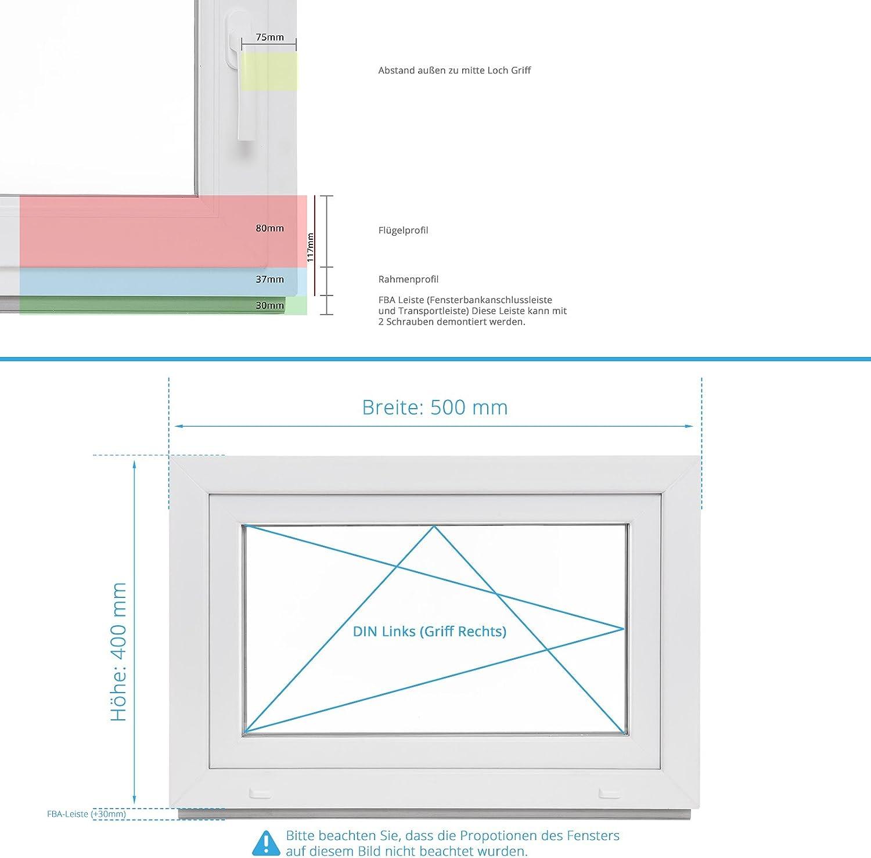 wei/ß Sicherheitsbeschlag verschiedene Ma/ße DIN rechts Kellerfenster Kunststoff BxH: 90x40 cm Fenster