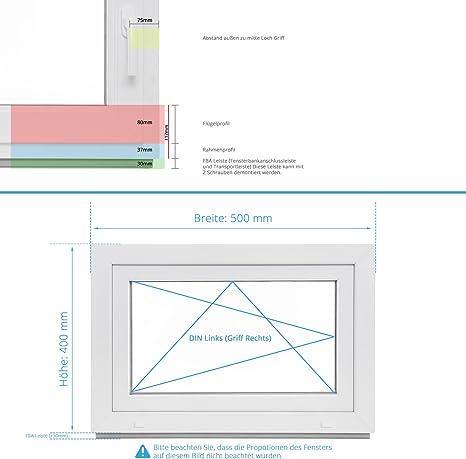 schneller Versand 60mm Profil Fenster Kunststoff wei/ß Kellerfenster BxH: 50x55 cm DIN links 2-fach-Verglasung verschiedene Ma/ße