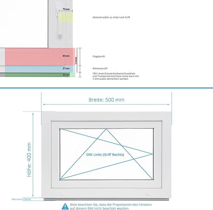 BxH: 80x40 cm DIN Links Fenster Kellerfenster Kunststofffenster Breite: 80 cm 2 fach Verglasung Alle Gr/ö/ßen Dreh Kipp Wei/ß Premium