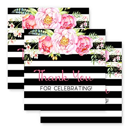 7ae6750fc16a Amazon.com  Paper Clever Party Black Stripe and Floral Favor Tags ...