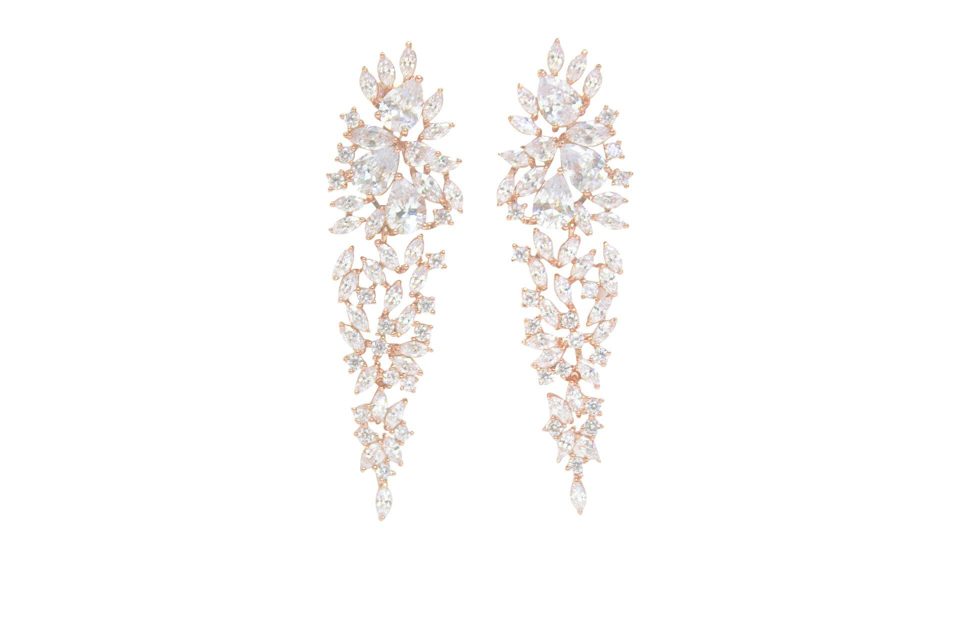 Wedding Clear Cubic Zircon Crystal Rhodium Waterfall Pierced Dangle Bridesmaid Bridal Earrings (rose gold plated)