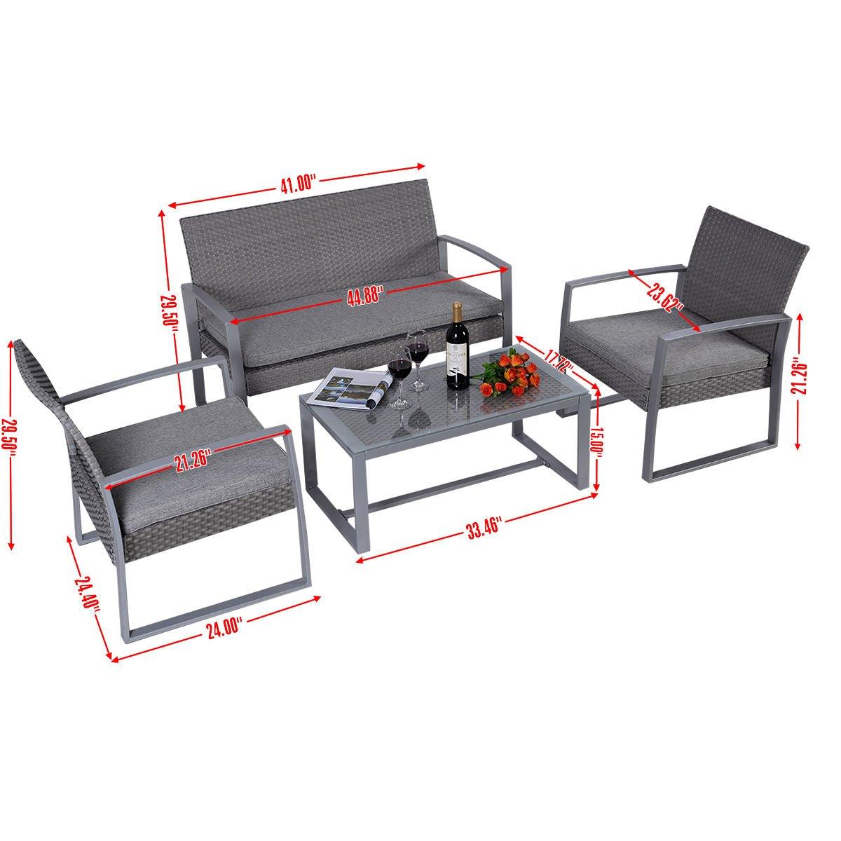 Amazon.com : Giantex 4pc Patio Furniture Set Cushioned Outdoor Wicker  Rattan Garden Lawn Sofa Seat : Garden U0026 Outdoor