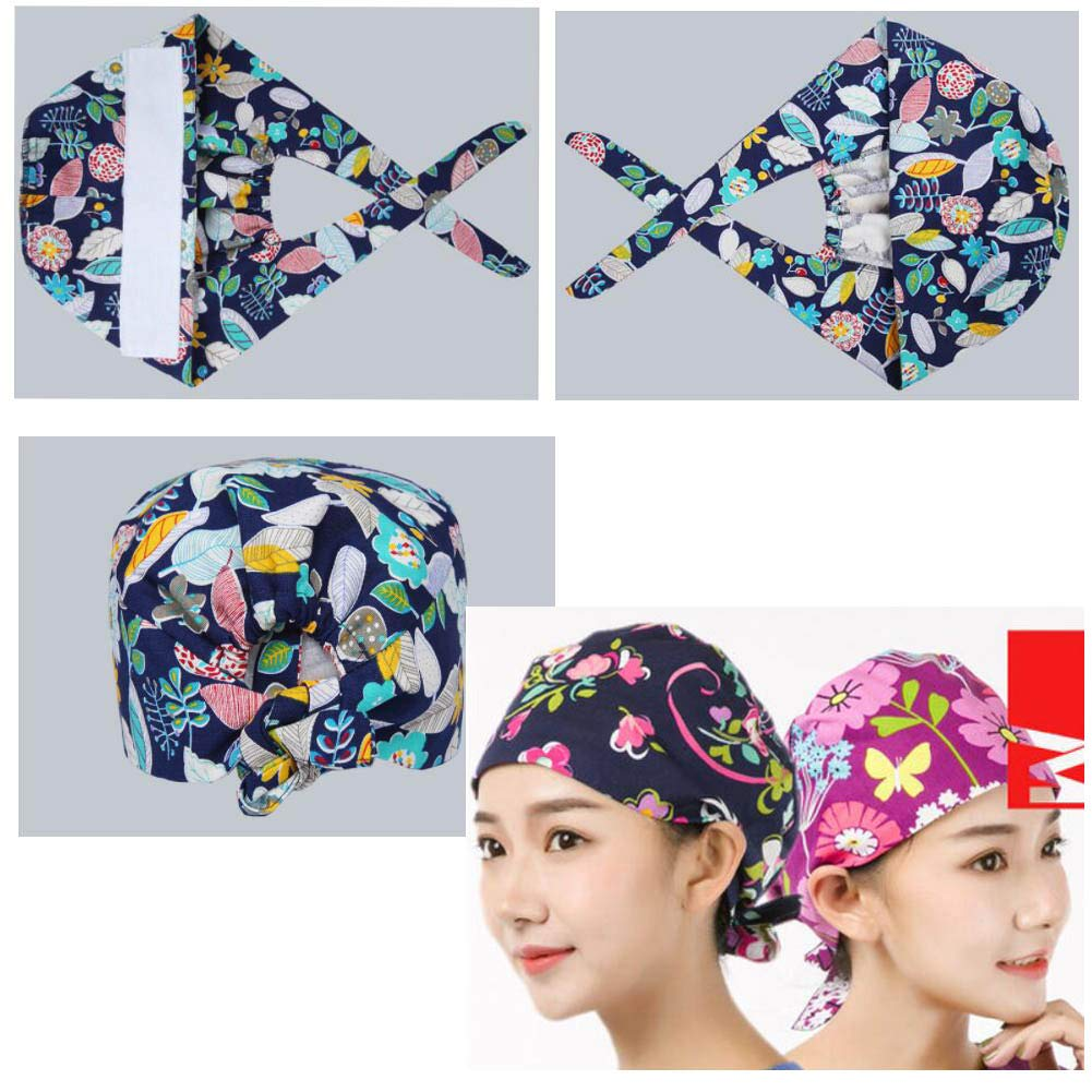 George Jimmy Adjustable Tie Back Cotton Printing Cap Nurse Hat Medical Doctor Cap Beauty Shop Work Cap Red Flower