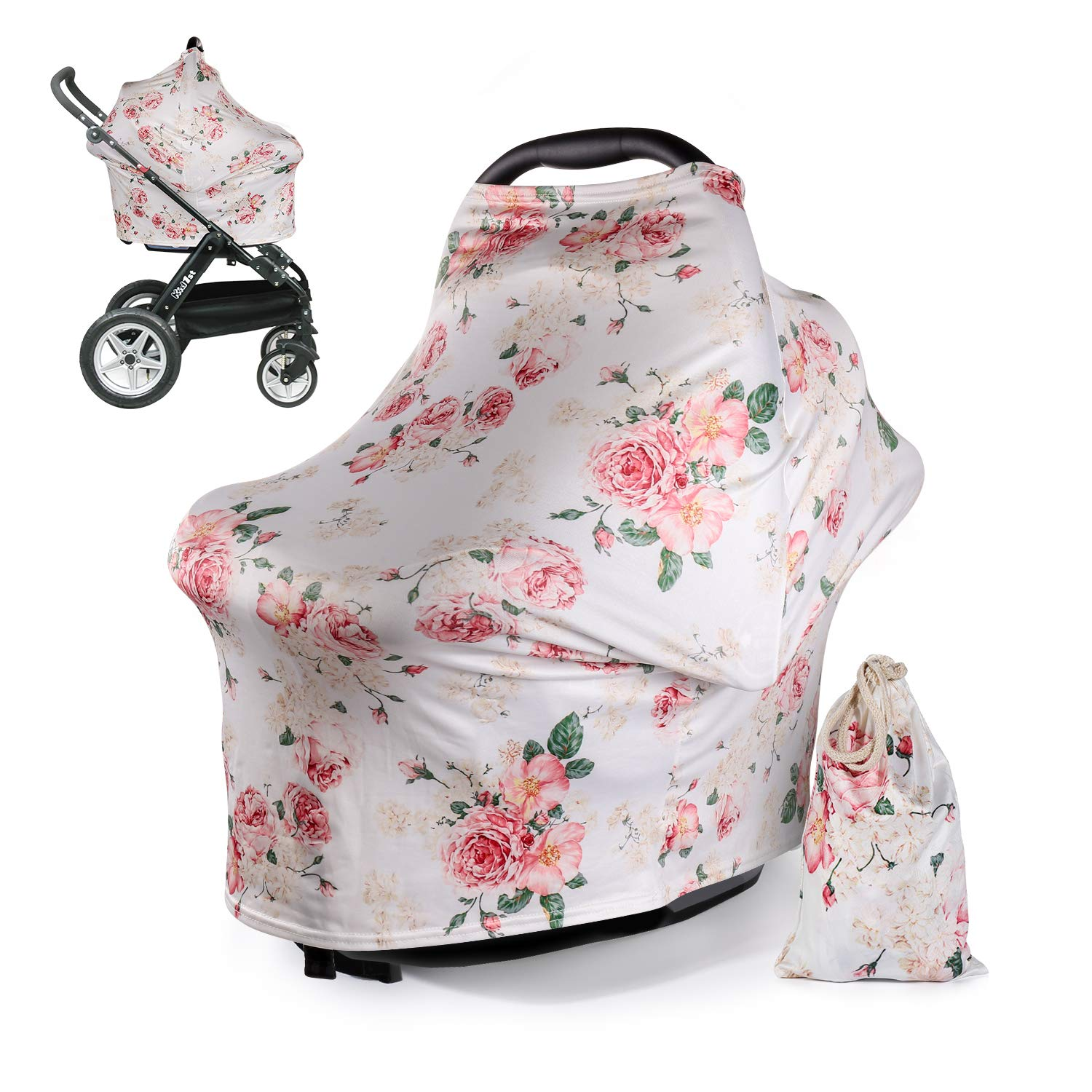 DSYJ Nursing Cover Baby Breastfeeding Scarf with Free Matching Pouch, Car Seat Covers, Boys and Girls Shower Gifts, Multifunctional Cover - Floral by DSYJ