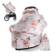 DSYJ Nursing Cover Baby Breastfeeding Scarf with Free Matching Pouch, Car Seat Covers, Boys and Girls Shower Gifts, Multifunctional Cover – Floral