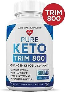 Pure Keto Trim 800 Advanced BHB Ketogenic Supplement Exogenous Ketones Ketosis for Men Women 60 Capsules 1 Bottle