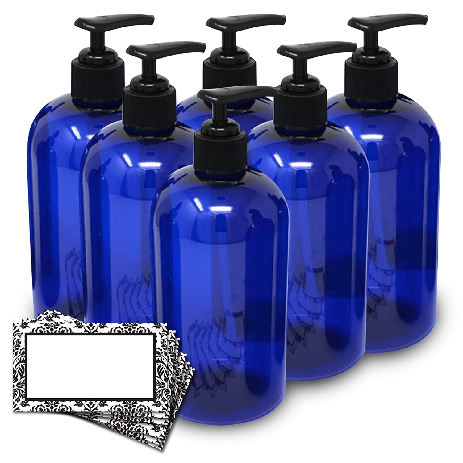 BAIRE BOTTLES -16 OZ BLUE PLASTIC REFILLABLE BOTTLES with BLACK LOTION PUMPS – ORGANIZE Soap, Shampoo, Lotion with Clean Look, PET, Lightweight, BPA Free, 6 Pack, BONUS 6 DAMASK LABELS