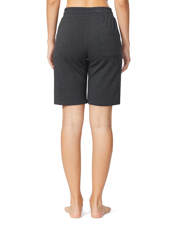 Baleaf Women's Active Yoga Lounge Bermuda Shorts with Pockets Charcoal Size L by Baleaf (Image #2)