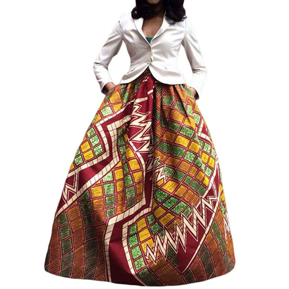Kalin L Women Deluxe African Print Color Block Contrast High Waist Maxi Flared Circle Skirt