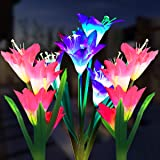 Outdoor Solar Garden Stake Lights, 3 Pack Solar Powered Flower Lights with 12 Lily Flower, Multi-Color Changing LED Solar Lan