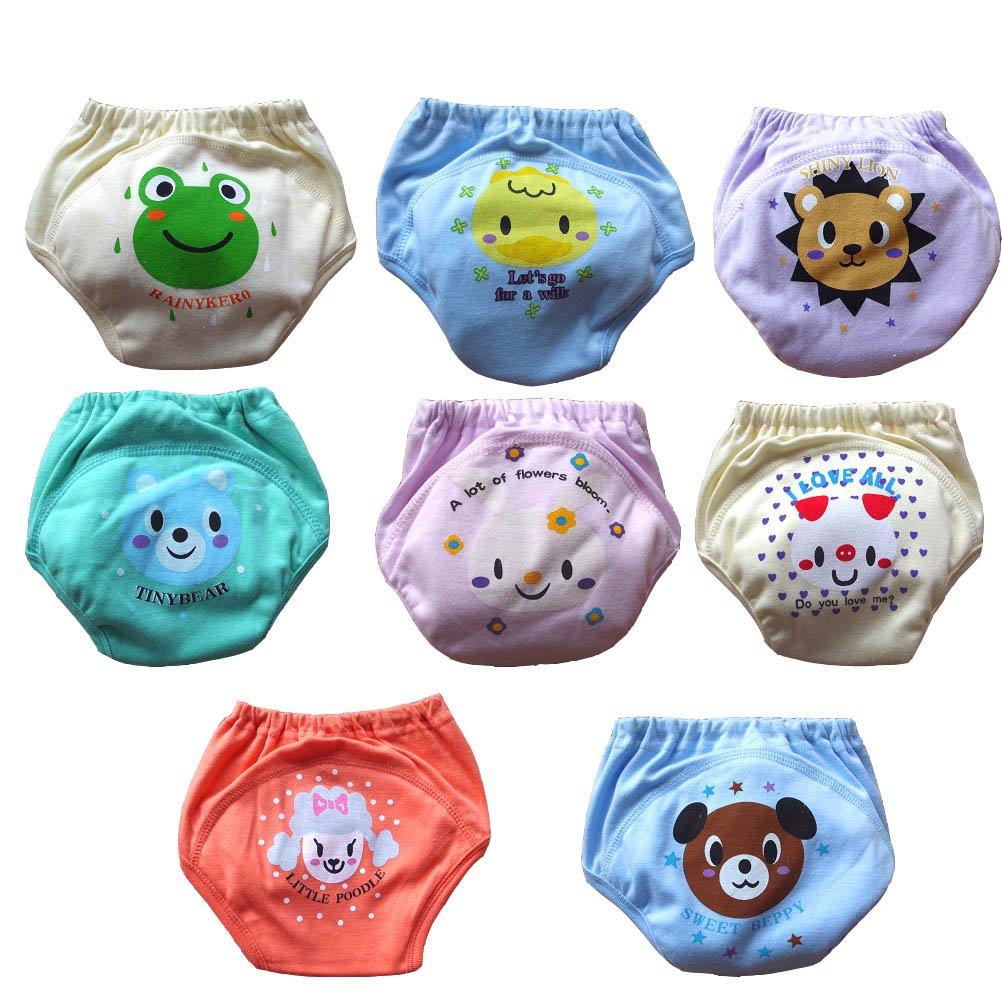Babynice Lot de 8 Culotte d'apprentissage sous-Vêtements Imperméable Respirant Lavable Bébé Bébé Couches en Tissu Couches 6-36 Mois