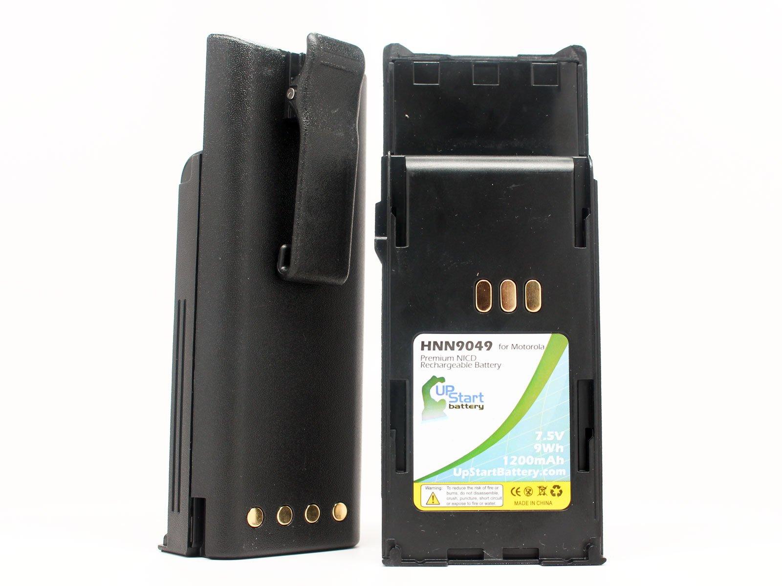 2x Pack - Motorola HNN9049 Two-Way Radio Battery Replacement (1200mAh, 7.5V, NI-CD) - Compatible with Motorola P1225 Battery, HNN9049, HNN9049A, HNN9049AR, HNN9049B, HNN9049H, HNN9050, HNN9050A, HNN9051, HNN9051A, P1225, P1225 LS